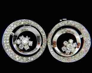 1.30CT DIAMONDS FLOWER CLUSTER CIRCLE EARRINGS 14KT
