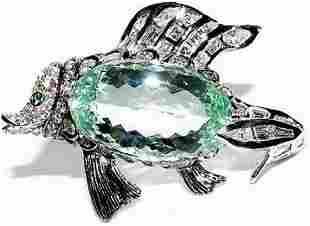 57.37CT NATURAL GREEN BERYL FISH BROOCH PENDANT