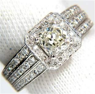 2.22ct NATURAL CUSHION CUT DIAMONDS RING 14KT K/Si