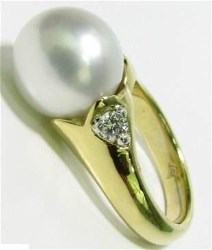 .20CT DIAMONDS & NATURAL SOUTH SEAS WHITE PEARL RING