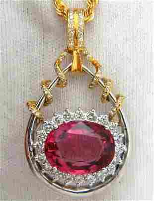 12.62CT NATURAL RUBELLITE PINK TOURMALINE DIAMONDS
