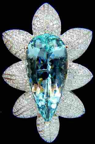 69.37 GIA NATURAL AQUAMARINE DIAMONDS 3D SNOWFLAKE