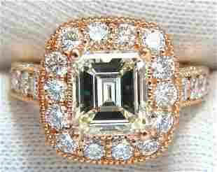 GIA 5.37CT EMERALD CUT DIAMOND RING 18KT BRIDAL