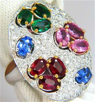7.26CT NATURAL SAPPHIRE EMERALD RUBY DIAMONDS SECTIONAL