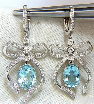 5.95ct natural aquamarine diamonds dangle earrings 14kt