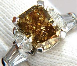 GIA 4.12ct. radiant fancy brown green yellow diamonds