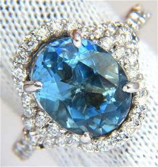 5.15ct natural prime aqua blue aquamarine diamonds ring