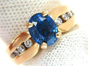 GIA 2.66ct natural no heat sapphire diamond ring 14kt.