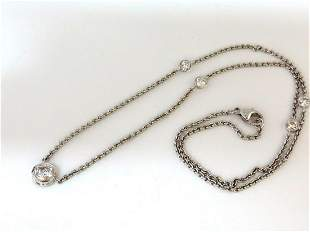 1.50ct NATURAL FLUSH MOUNT (5) DIAMOND BY YARD NECKLACE