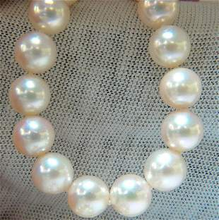GIA 8.5mm NATURAL AKOYA WHITE PEARLS NECKLACE 14KT GOLD