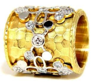 1.10CT 14KT DIAMONDS SPANISH GOTH DECO REVIVAL HAMMERED
