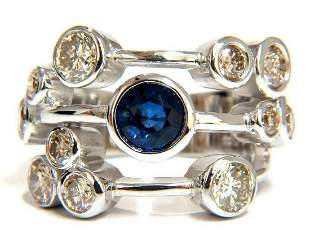 3.20ct NATURAL SAPPHIRE FANCY BROWN DIAMONDS RING 14KT