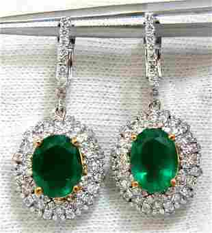 4.84ct NATURAL VIBRANT GREEN EMERALD DIAMOND CLUSTER
