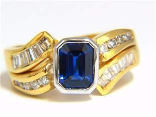 2.44ct NATURAL BLUE SAPPHIRE DIAMONDS RING 14KT ROYAL
