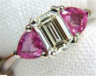 3.18CT NATURAL EMERALD CUT DIAMOND PINK SAPPHIRE RING