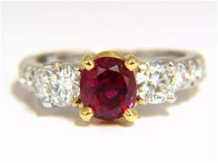 """GIA Certified 1.83ct oval cut """"pigeons blood"""" red ruby"""