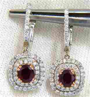 2.70ct natural deep red ruby diamond double halo dangle