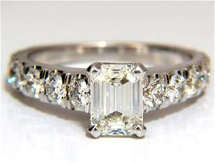 GIA Certified 1.08ct Emerald Cut diamond ring 1.20ct.
