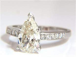 GIA Certified 1.49ct Pear Shape diamond ring .20ct.