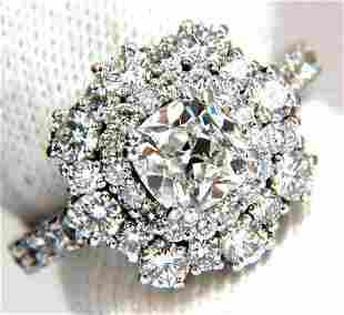 GIA Certified 1.70ct Cushion Cut diamond ring E/VS 14kt