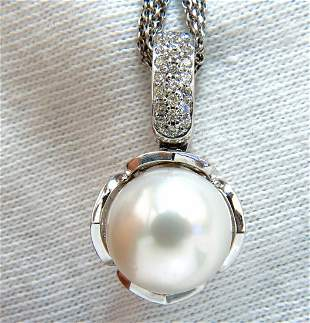 12.75mm natural south sea pearl .50ct diamonds necklace
