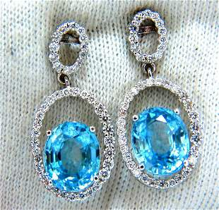 8.86ct natural vivid indigo blue zircon diamonds dangle