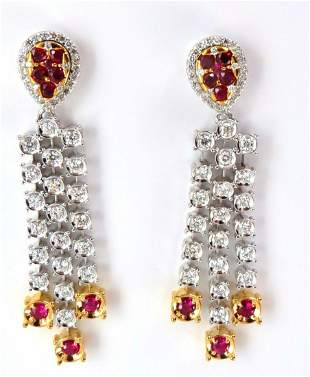 3.00ct natural deep red ruby diamond by yard dangle ear
