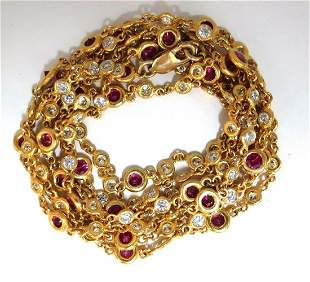 8.60ct natural ruby diamonds station yard necklace 14kt