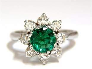 1.72ct natural vivid bright green emerald diamonds ring