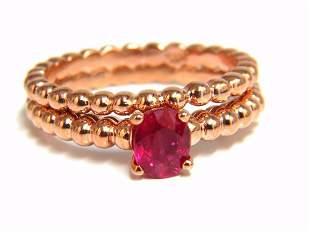 .82ct natural vivid bright ruby solitaire ring & band