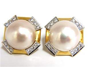 2.40ct. diamonds mabe pearl clip earrings 18kt omega