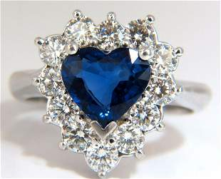 GIA Certified 3.45ct natural sapphire diamonds ring 18k