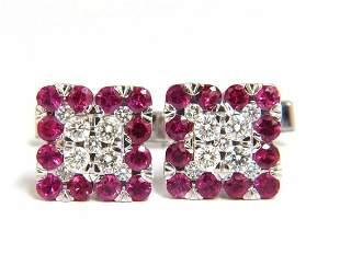 4.46ct Natural Ruby Diamond Cufflinks 14kt. Executive