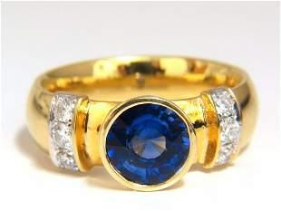 1.50ct natural vivid blue round sapphire diamonds ring