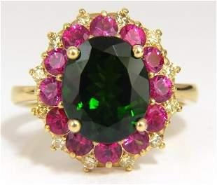 5.30ct Natural Deep Green Diopside Fancy Yellow diamond