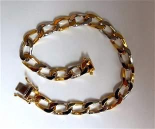 14kt. gold Elongated Curb Link High shine Bracelet 7.5