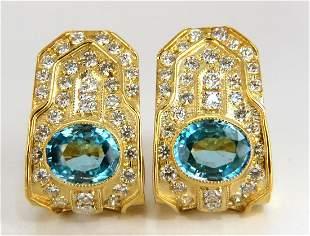 13.14ct natural vivid blue zircon diamonds clip earring