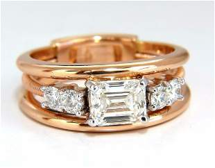 GIA Certified 1.46ct Emerald Cut Diamonds ring 18kt