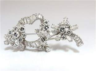 5.00ct Diamonds cluster brooch pendant pin Platinum