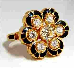 1.05ct Vintage Cluster diamonds ring 14kt Old Miner
