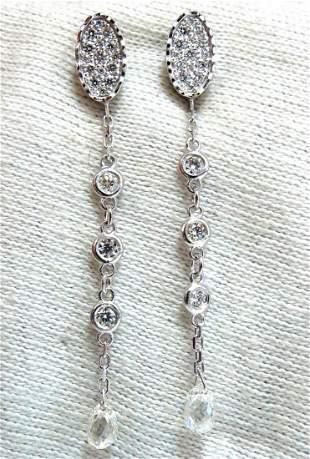 1.64ct Natural Briolette Diamonds Dangle Earrings 14kt