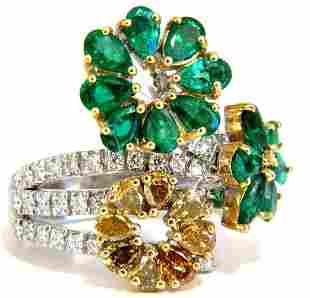 4.36ct Natural Emeralds diamond cocktail cluster ring 1