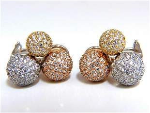 3.70ct Ball Cluster Bead Set diamonds Clip Earrings 18k