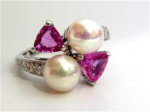 7.8mm Natural South Seas Pink sapphire Diamonds rings
