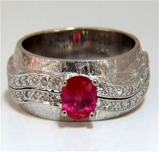 GIA Certified 1.24ct No Heat Ruby Diamond Ring 14 Karat
