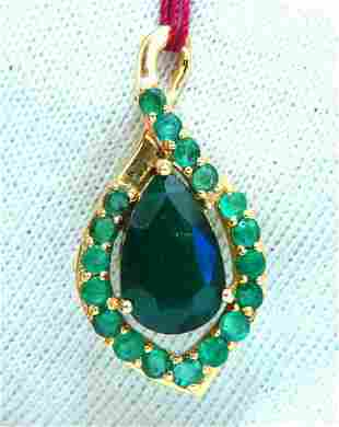 3.84ct Natural Emeralds Iconic Pendant 18 Karat