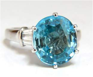 7.66ct Natural Indigo Blue zircon Diamonds Ring 14kt