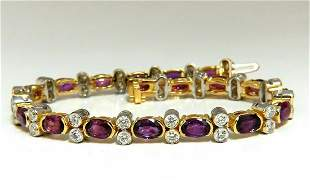 12.90ct Natural Ruby Diamonds Bracelet 14 Karat Two Ton