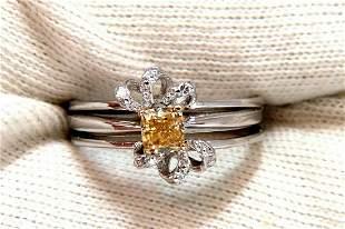 .58ct Natural Fancy Yellow Diamond ring 14 Karat