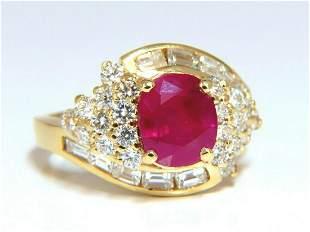 GIA Certified 4.08ct Burma Red Ruby Diamonds Ring 18 Kt